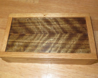 Oak Marquetry Box Featuring Australian Curly Walnut