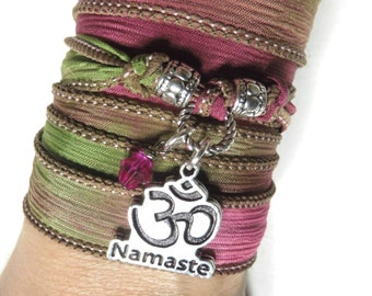 Silk Wrap Bracelet Namaste Yoga Om Jewelry Bohemian Jewelry Meditation Yoga Wrist Band Gift Om Necklace Christmas Stocking Stuffer Under 30