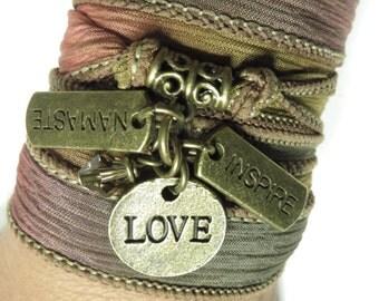 Spiritual Silk Wrap Bracelet Yoga Jewelry Love Inspire Yoga Bracelet Summer Boho Beach Jewelry Autumn Nameste Wrist Band Birthday Gift