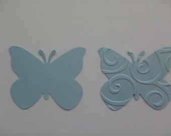 50 butterflies mettalic aquamarine cardstock