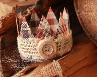 Fall Cute as a Button Natural Burlap Crown: Newborn Photo Prop, Newborn Crown, Burlap Crown, Baby Crown, Infant Crown, Photography Prop