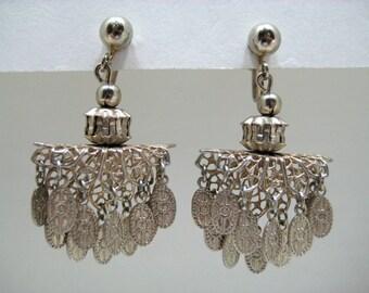Vintage 1940s Filigree Etched Chandelier Dangle Earrings Silver Tone Metal Screw Back