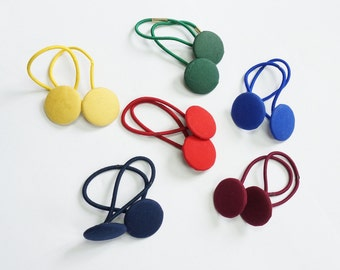 Button Hair Ties, School Colours, Navy, Red, Yellow/Gold, Royal Blue, Red, Burgundy, Forest Green