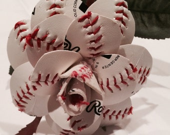 6 Baseball Roses-1/2 dozen long stem open leather roses