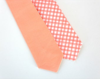 Boys peach tie, light peach tie, ring bearer tie, Boys wedding tie, peach gingham tie, baby tie, boys wedding outfit, toddler neck tie
