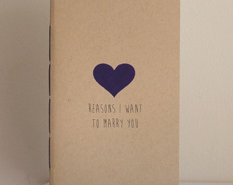 Reasons I Want To Marry You Medium Size Booklet With Handpainted Heart