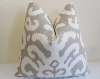 Suburban Fergana Ikat Pillow Cover -Taupe Ikat Pillow-  Decorative Pillow Cover -Ikat Cushion- Toss Pillow
