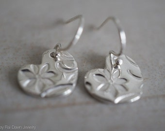 Silver Floral Heart Earrings - .999 Fine Silver