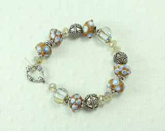 Blue & brown lampwork bracelet