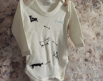 Cave art babygrow, bodysuit hunting animals, minimal unisex apparel, ancient art