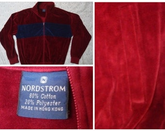 Vintage Retro Men's 90's Nordstrom Track Jacket Full-zip Velour Color Block Blue Maroon Large