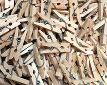 36 Mini Wooden Spring Clothespins - 1 Inch Wood Clothespins - Craft Gift Wrap Packaging Party Supplies