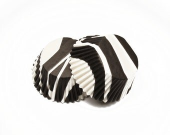 Zebra Stripe Black and White Baking Cupcake Liners Cups - 36 Standard Size Liners - Food Craft Baking Candy Making Craft Party Supplies