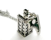 Tardis Necklace 10th Dr Who Police Box jewelry Handmade Gift