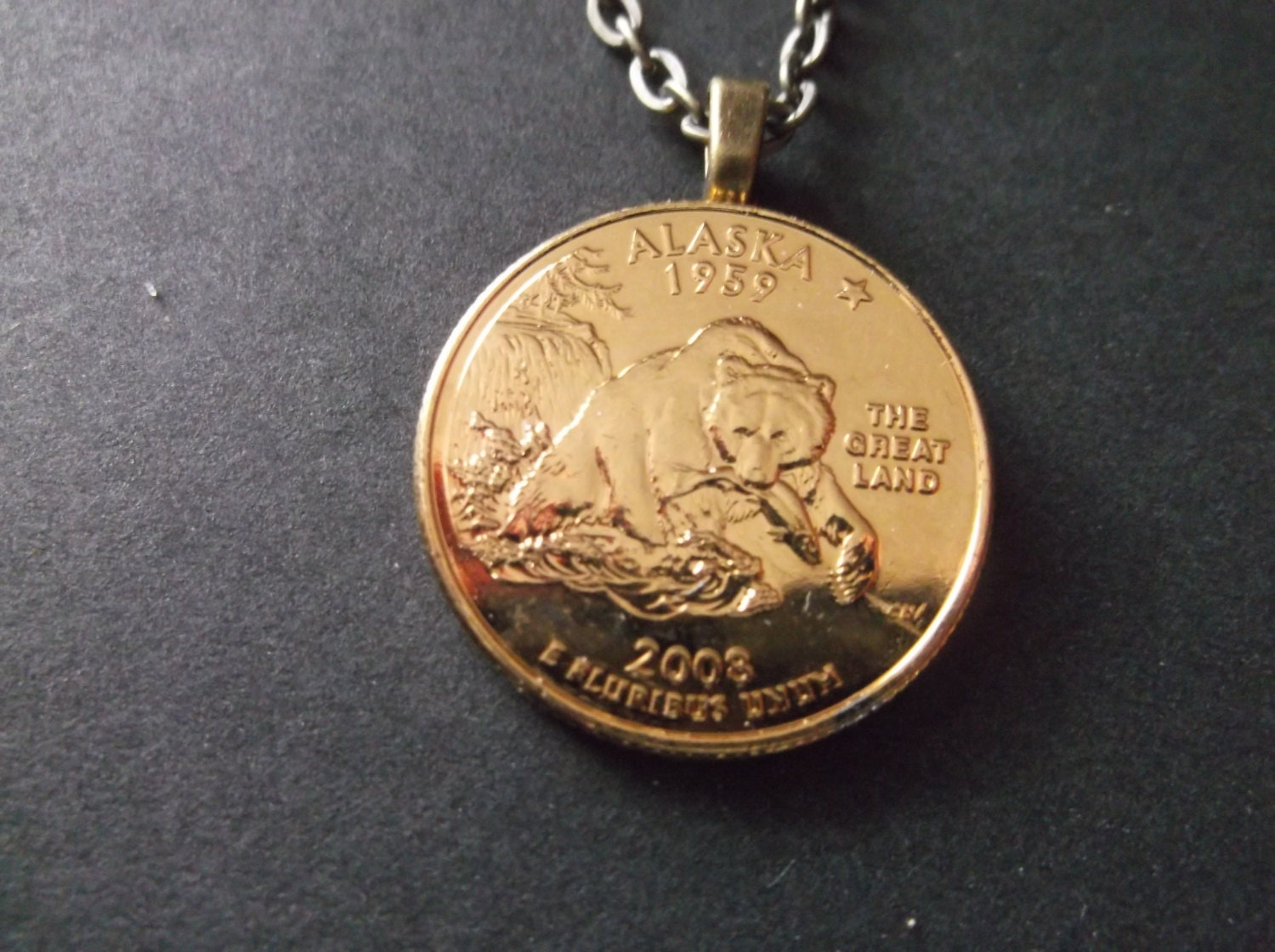 Alaska United States Gold Colored Quarter Coin Necklace