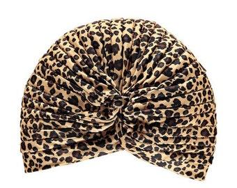 Women Leopard Cheetah Animal Print Turban Hat