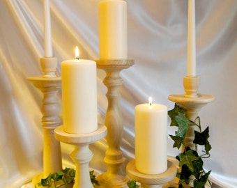 Mantel Masterpiece Collection - Unfinished Lathe-turned Wooden Candle Holders - MADE IN USA