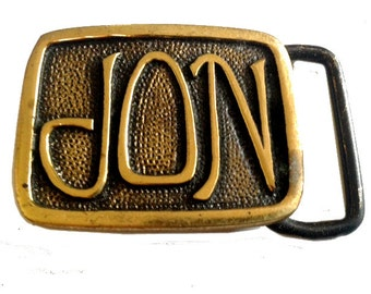 Vintage JON Name Belt Buckle - Personalized