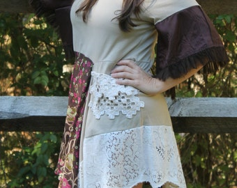 women's vintage upcycled lace dress