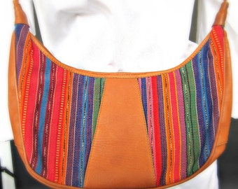 Leather and Multicolored Purse with Adjustable Leather Strap (A12)