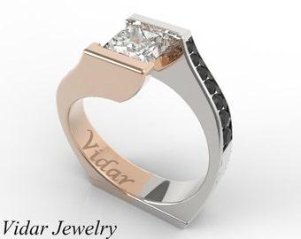 Princess Cut Diamond Two Tone Gold Engagement Ring-Unique Ring Design