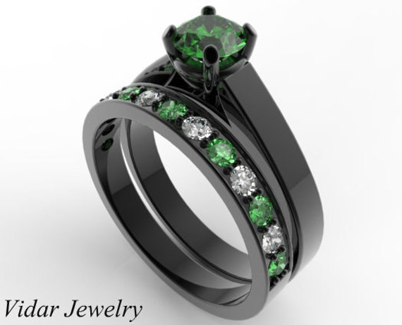 emerald wedding ring setunique wedding ring setgreen emerald engagement ring set - Emerald Wedding Ring
