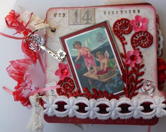 Valentine Mini Chipboard Album, Pre-Made Vintage-Style Shabby Chic Scrapbook, One-of-a-Kind Art, Holiday Decor