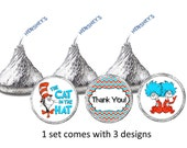324 set Dr Suess The Cat in The Hat personalized Hershey kisses labels stickers Great for birthday party favors Baby shower or any occasion