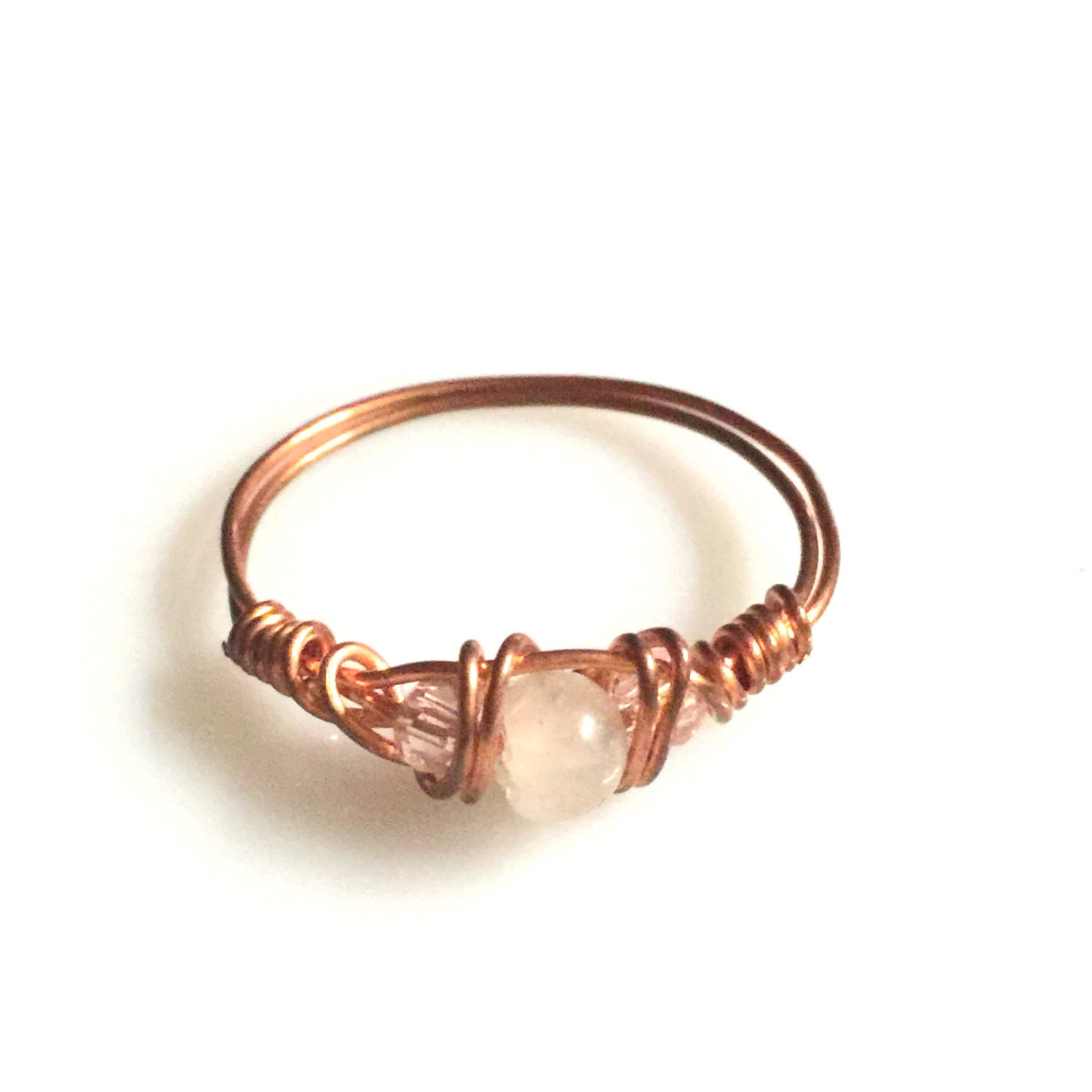 wire wrapped jewelry handmade copper ring swarovski by