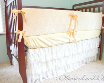 butter and lace baby crib bedding ruffled tiered lace crib skirt cotton crib sheet