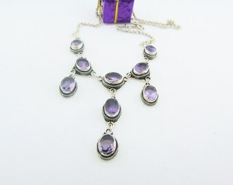 Amethyst & Sterling Bib Necklace Statement Party Necklace Special Occasion Dangle Purple Gemstone Necklace Gifts For Her
