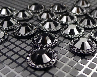 14mm Black Embellishments Flatback Cabochon - Set of 10 Scrapbooking Card Making