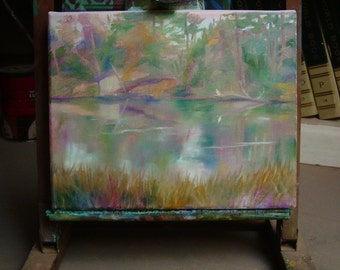 """Small original painting, 8"""" x 10"""", """"Egret in Waiting"""", rural, landscape,trees, water, reflections, green, calm, river, lavender, gold"""