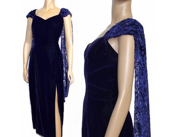 1990s Dress Cocktail Party Couture Mad Man Femme Fatale Velvet Dress Rockabilly Hollywood Glamour