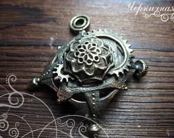 Star steampunk brass jewelry findings L14126(1), gear, ornament. Designed and made by Anna Bronze.