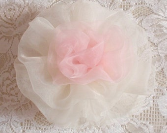 Lager Handmade Organza Flower  (3-3/4inches) in Lt pink And Ivory MY- 270 Ready To Ship