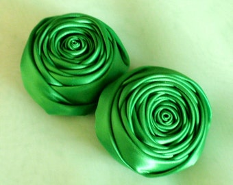2 Handmade Rolled Roses (2 inches) in  Emerald Green MY-012 -108 Ready To Ship