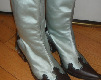 giuseppe zanotti turquiose brownleather  vicini made in italy blue satin  western boots silver designand turquoise stones 37