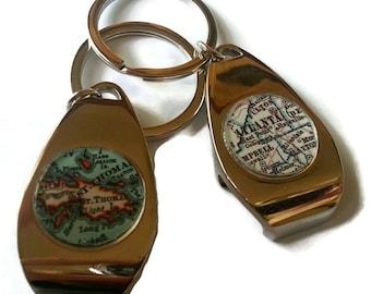 Custom Bottle Opener Keychain, Personalized Mens Custom Gift, Brother Gift, Husband Gift, Boyfriend Gift, Map Keychains, Mens Gift