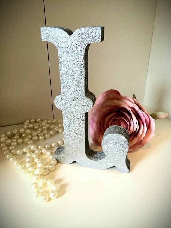 Silver glitter wooden fancy letters free standing for Silver letters freestanding