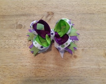 CLEARANCE: Bright and beautiful purple and green stacked boutique bow