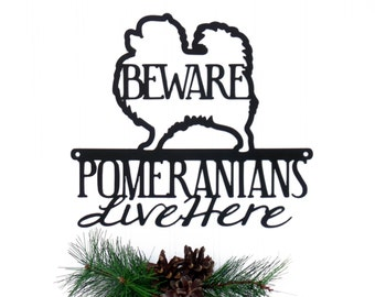 Pomeranians Live Here Metal Sign - Black, 12x10.5, Toy Pomeranian, Small Dog, Metal Wall Art, Dog Lover Gift, Door Sign