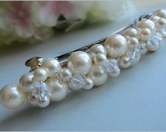 Wedding Barrette with Swarovski Pearls and Crystals, Beaded Pearl Bridal Barrette, Pearl Hair Accessory, Wedding Hair Clip, French Barrette