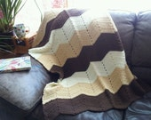 Beautiful Hand Knit Classic Chevron Afghan, Soft Reading Shawl Cozy Wrap Vintage Travel Lap Blanket, Unique Gift, Family Photo Prop
