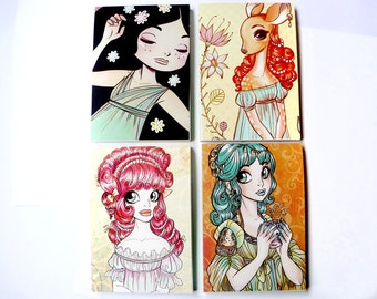 Illustrated Notebook, cute Dames, original illustration, print