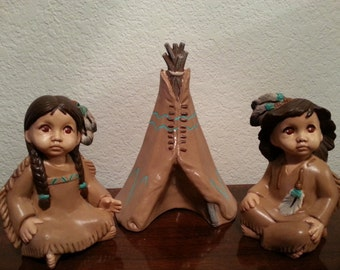 Two Ceramic Indian Girls and a Teepee Set
