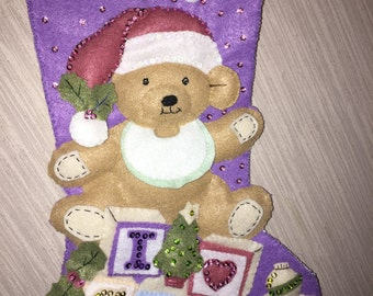 I Love Snow Completed Handmade Felt Christmas Stocking from Bucilla Kit