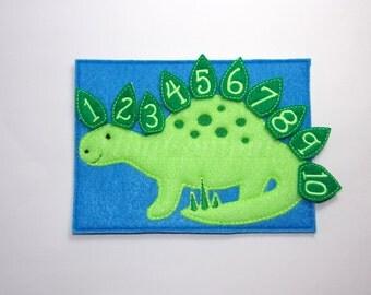 Dino counting, stegosaurus, Math help, learning math, Eco Friendly toy, homeschool, montessori