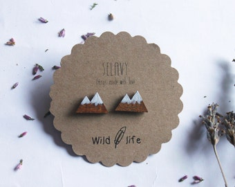 Earrings Snowy mountains. Wild life collection.