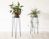 PAIR of Mid Century Hairpin Wire Plant Stands